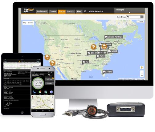 BigRoad Mobile App, BigRoad Web App, and DashLink ELD