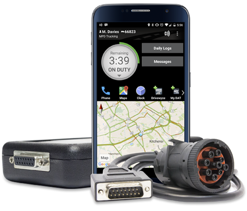 BigRoad DashLink ELD with Android Phone showing BigRoad Mobile App