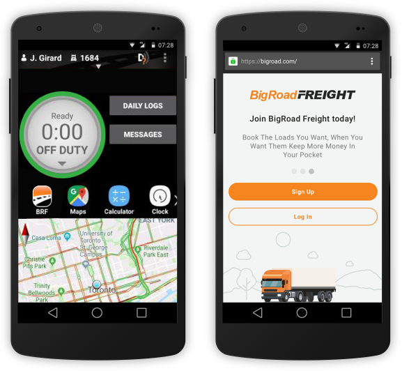BigRoad Freight on BigRoad Mobile App Push Notification of Load