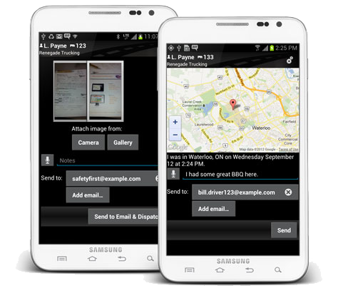 Android phones demonstrating location on a map, and photo and document sharing features on BigRoad App