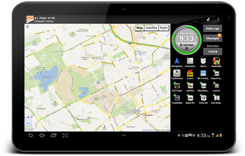 Tablet showing the landscape version of BigRoad app map