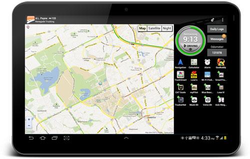 Tablet showing the landscape version of BigRoad app map