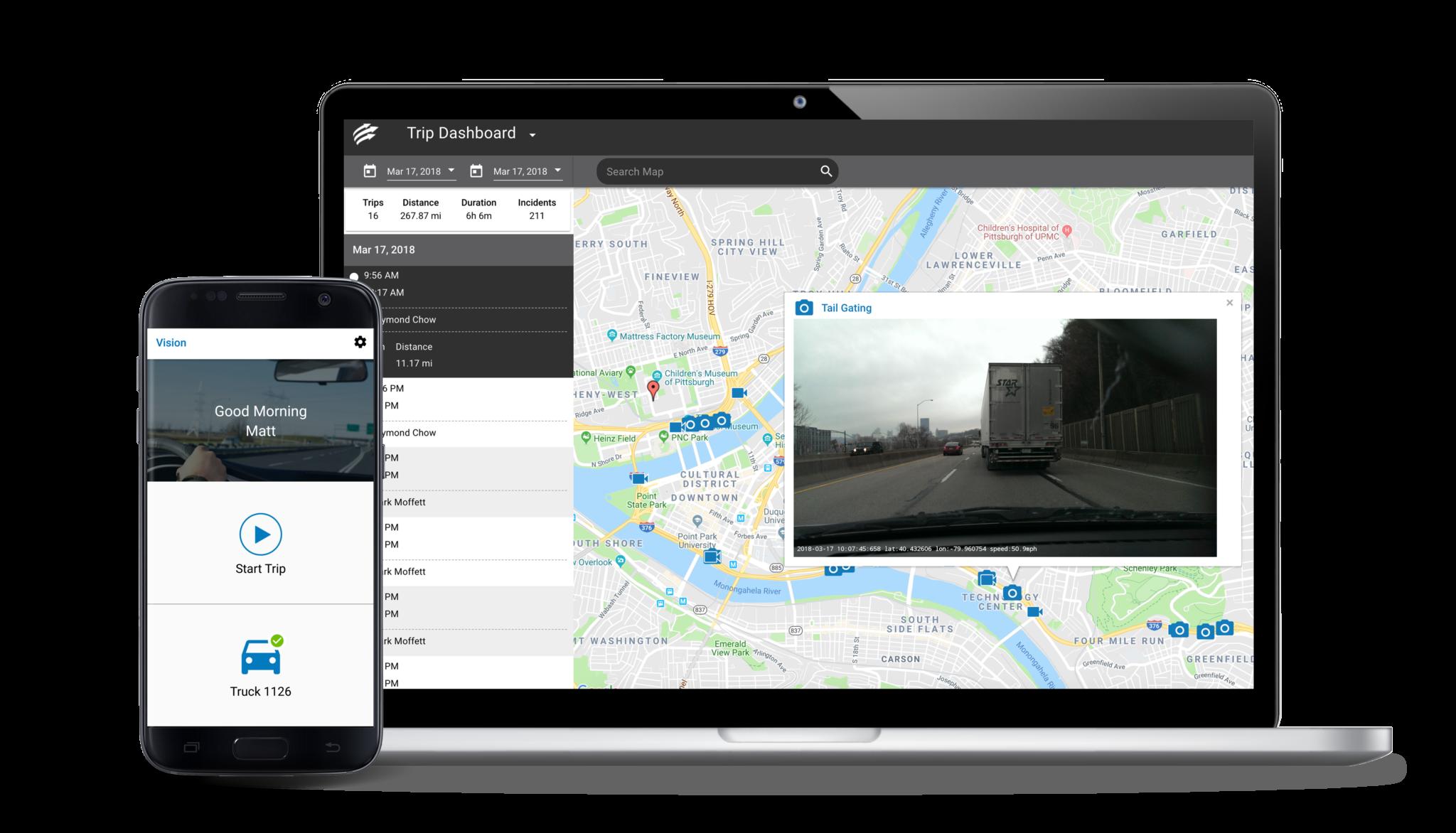 Vision app and desktop trip dashboard.