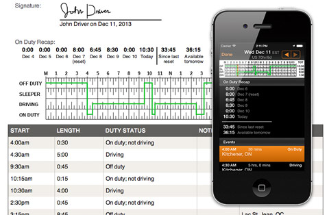 BigRoad screen shot showing daily log recap