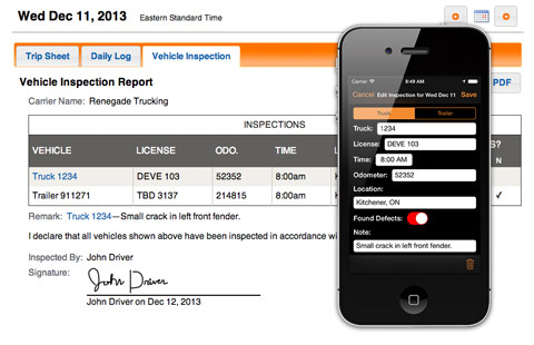 BigRoad screen shot showing vehicle inspection report