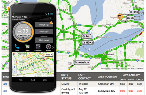 BigRoad screen shot showing location and traffic on a map