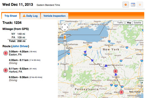 BigRoad screen shot showing mileage on a map
