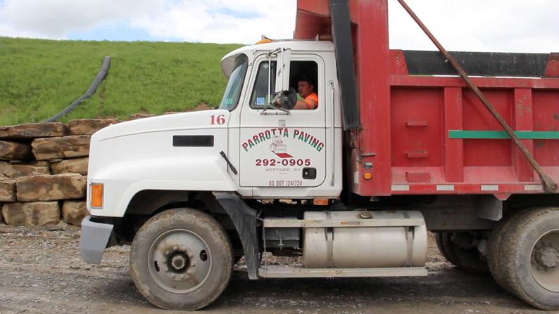 Parotta Paving truck at job site.
