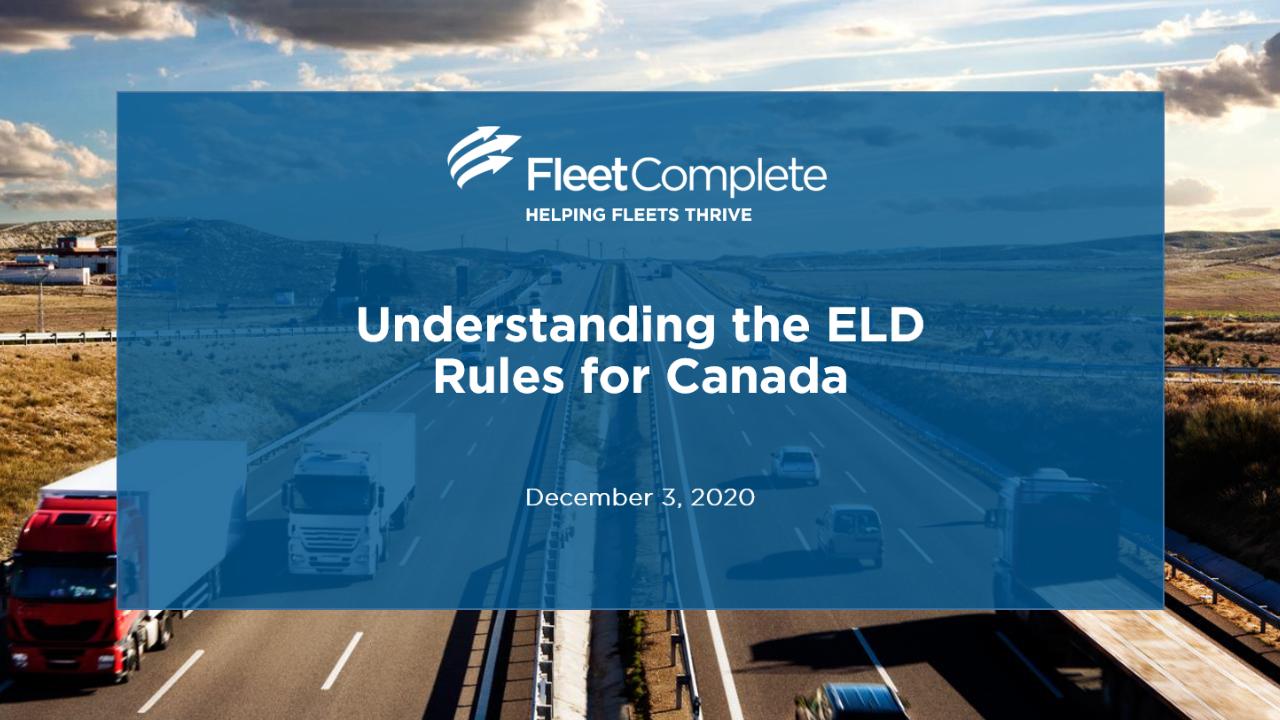 Webinar - Understanding the ELD Rules for Canada